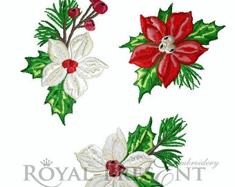 Machine Embroidery Designs - Christmas boutonniere set