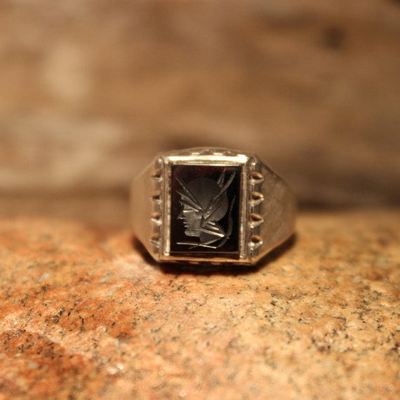 Mens Silver Rings Roman Soldier Ring Size 10.5 Vintage Sterling Silver Hematite Ring 7.7 Grams Mens Roman Cameo Ring Mens  Silver Ring