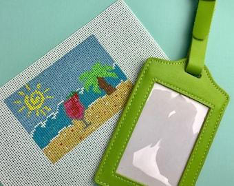 Beach Scene Luggage Tag Needlepoint Kit- self finishing