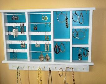 Wall hanging Jewelry  Organizer, Earring Organizer, Earring Display,  , Handmade Jewelry Organizer,