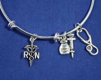 Nurse Bracelet....Registered Nurse Bracelet.....Expandable Silver Plated Wire Wrapped Bangle Bracelet