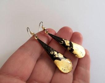 Dangle Black &23k Gold Flakes  Earrings - Gift for her