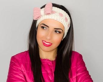 Cream bow headband, headband with bow, bow headwrap, crochet bow headband, womens knit headband, bow headband women, ribbon headband