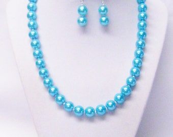 Turquoise Glass Pearl Princess Necklace/Bracelet/Earrings