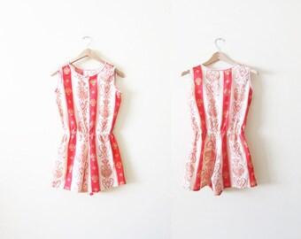 Vintage Womens Romper - 60s Romper Shorts - 70s Playsuit - Red Summer Romper - Festival Clothing - Striped Romper - Sleeveless - XS S