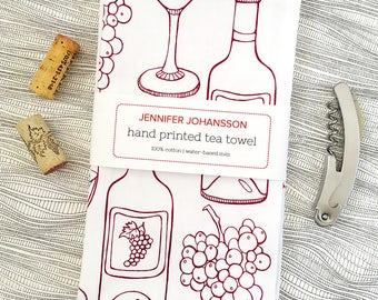 Wine Tea Towel - Screen Printed Tea Towel - Kitchen Towel - Bar Towel - Wine Gift - Wine Lover - Gifts Under 20 - Housewarming - Flour Sack