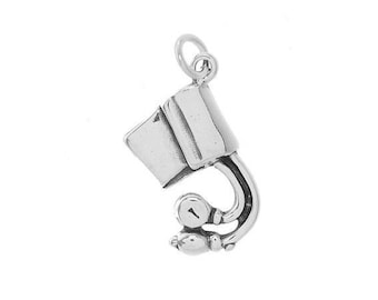Sterling Silver Blood Pressure Cuffs Charm (Flat Back Charm)