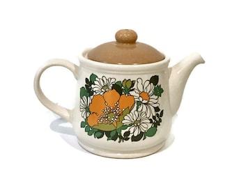 Vintage Sadler Ceramic Teapot, Retro 1970s Floral Design and Colours