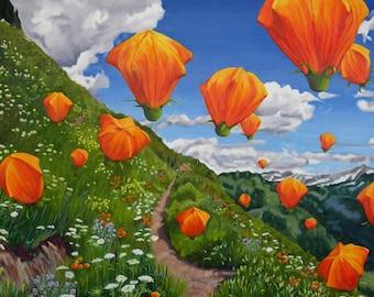Balloonflowers (unframed print)