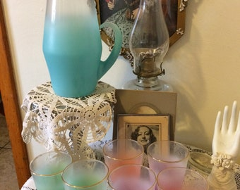 Vintage 60s West Virginia Glass Blendo Turquoise Pitcher and Set of Six Multi Color  Drinking Tumbler Glasses Retro Bar Decor