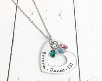 Heart Mothers Necklace with Birthstones - Kids Name Necklace - Kids Names - Heart Shaped Necklace - Mom Heart Necklace - Hand Stamped