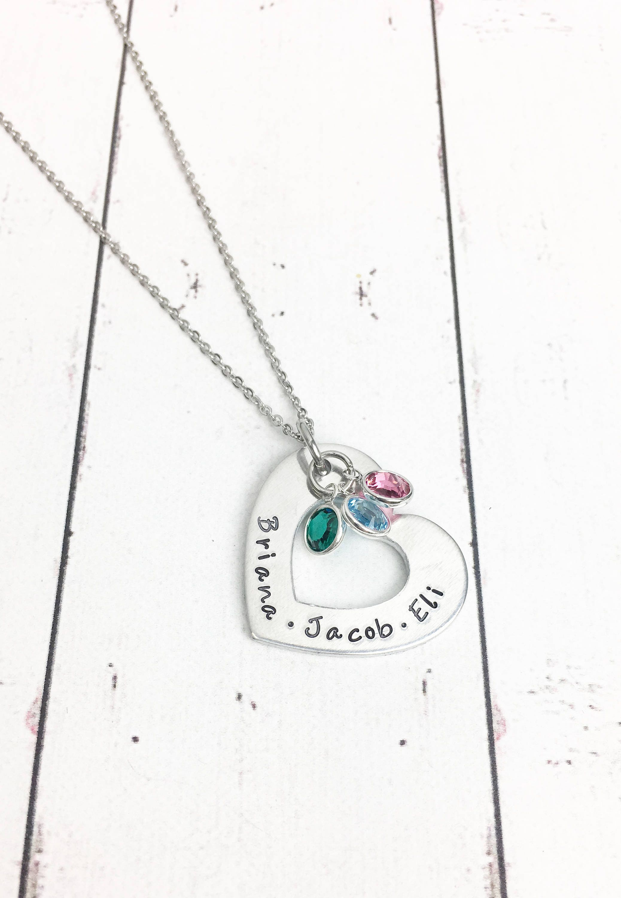 crystals grandkids swarovski grandkid grandmothers hand grandma necklace birthstone pin stamped with