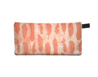 Peach Feather Pencil Case - Free shipping USA and Canada