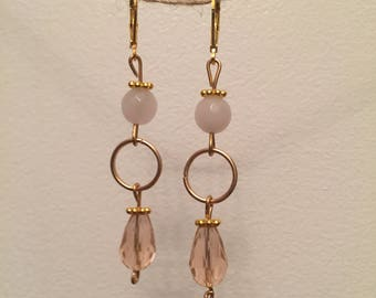 Rose quartz and pink crystal earrings