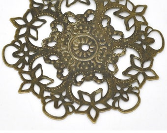 Antique Bronze Filigree Stamping Flower Wraps Connectors - Pack of 16