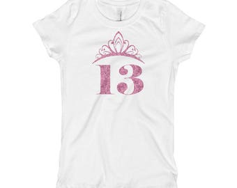 13th Birthday Party Princess Girl's T-Shirt faux glitter effect