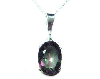 Mystic Topaz sterling silver pendant with chain SALE
