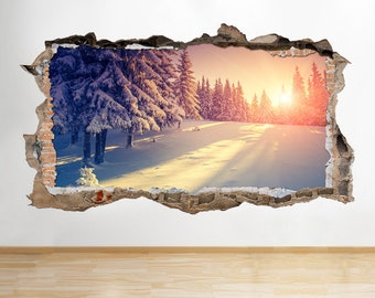 S391 Snowy Trees Snow Sunny Winter Smashed Wall Decal 3D Art Stickers Vinyl Room
