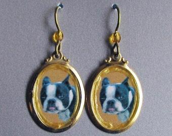 Boston Terrier Dog Love Earrings