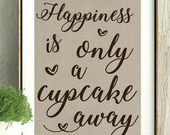 Cupcake, Gift for Cupcake lover, Gift for friend, Gift for Baker, Kitchen Decor, Kitchen Art, Home Decor,Baker,Gift for her,Teacher gift,Art