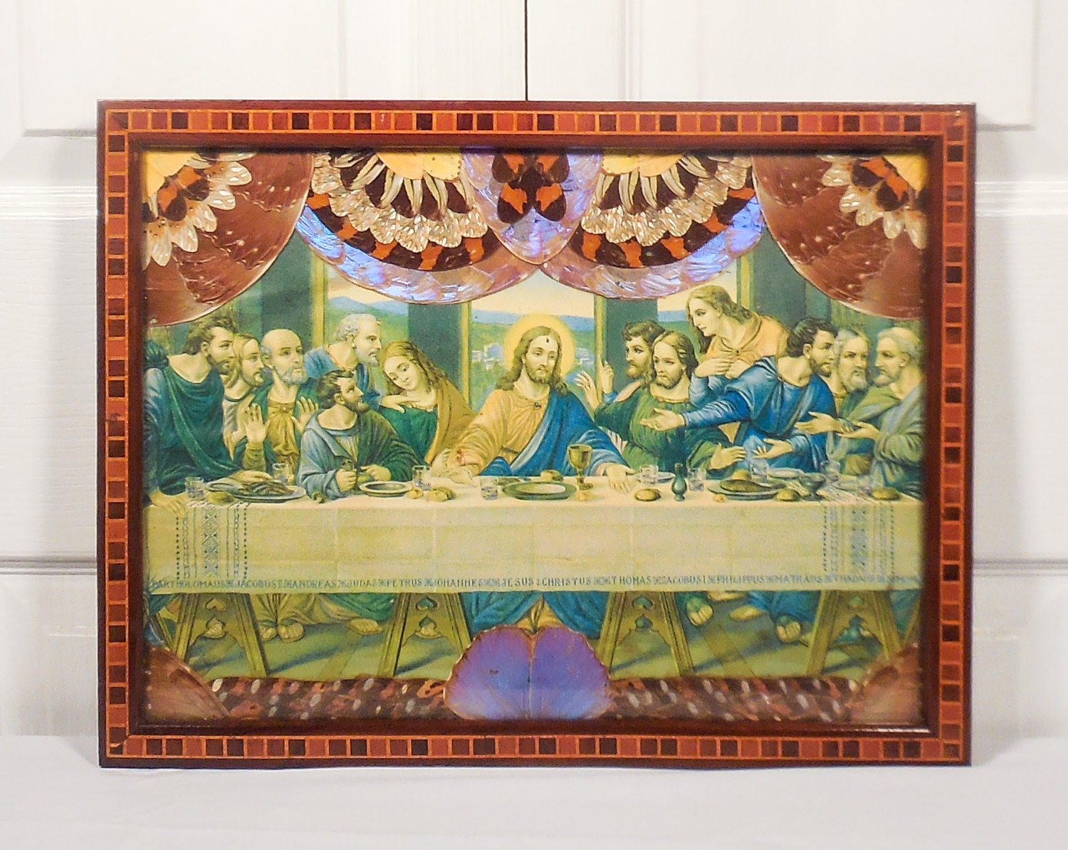 Last Supper Feather & Butterfly Wing Border Lithograph Inlaid