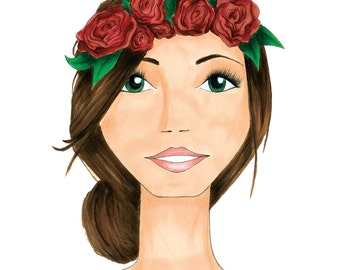 Flower Crown Fashion Illustration Print