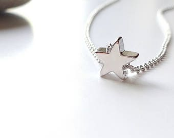 Silver Star Necklace, Tiny Silver Necklace, Delicate Silver Necklace Star, Jewelry Gift For Her, Bridesmaids Jewelry Bridesmaids Necklace