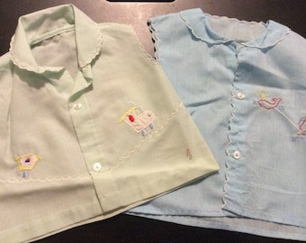 Pair of Vintage Baby or Toddler Blue and Green Sleeveless Tops/Shirts with Embroidery Trains and Whale