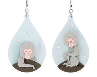 Snow Monkey Acrylic Earrings