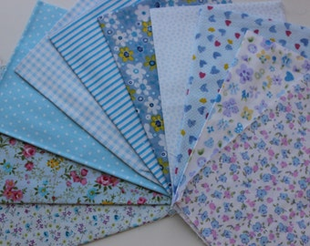 Blue color quilt set fabric. 10 pieces 23x31cm
