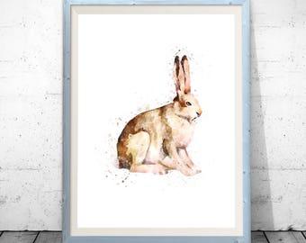 Rabbit print, bunny print, animal print, rabbit wall art, rabbit poster, nursery animal print, rabbit painting, watercolor rabbit, rabbit