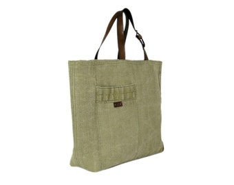 Canvas tote bag, vintage handbag, recycled bag, tote bag with pocket, canvas bag with leather straps