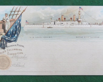 Rare 1893 Chicago Columbian Exposition World's Fair Official Postal Card - Battle Ship Illinois - Free Shipping