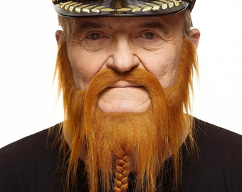 Braided Captain ginger beard and mustache (161-LB)