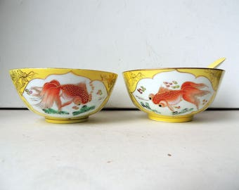 2 Chinese Porcelain Rice Bowls Yellow