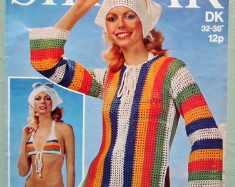 Vintage Crochet Pattern 1970s Bikini Tunic and Scarf Beach Outfit Swim Wear 70s UK original pattern women's swimwear