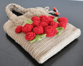 Red Roses - Crochet Roses Applique Bag/Purse