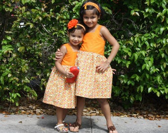 Ready to ship Matching Sister Easter Dress, Girls Summer Dress, Matching Sister outfit, Girls Cotton Dress, Sisters Dress