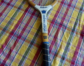 Vintage Andrea Jaegar Wood Tennis Racquet  Leather Grip Exc Condition 4 1/4 light