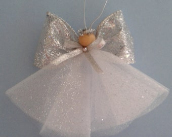 Angel ornament, silver angel ornament ,Christmas angel, tree angel, tulle angel, sparkle angel ornament