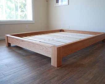 Low-profile Platform Bed, Simple Bed Frame, Solid Hardwood Bed, Twin, Full, Queen, King