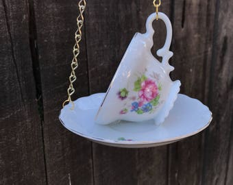 Bird Feeder with Bird's Seed, Bone China Japan, Antique Teacup & Saucer with Single Bag Bird Seed, Gold Trim and Chain, Item #594768587