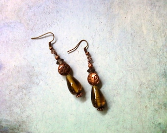 Yellow and Copper Earrings (1708)