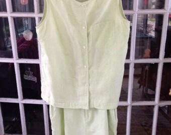 80's green gingham shorts set, linen/cotton blend