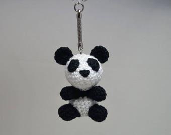 Panda keychain/keyring/bag charm - crocheted - size mini