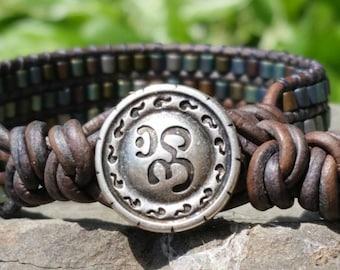 Yoga Sanctuary leather bracelet/softest grey distressed leather/pewter Om button/matte gorgeous metallic tubes/Namaste/fun/