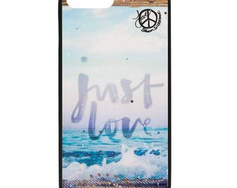 NEW iPhone 8/8+ Case, JUST LOVE, Best Seller, Love, Beach, Surf, Surf Art, Tropical, Ocean, Art, black case color, Apple iPhone