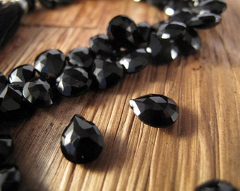 Black Onyx Beads, 9mm x 7mm Faceted Pear Shaped Briolettes, 4 Inch Strand of Natural Gemstones for Making Jewelry (B-On3b)