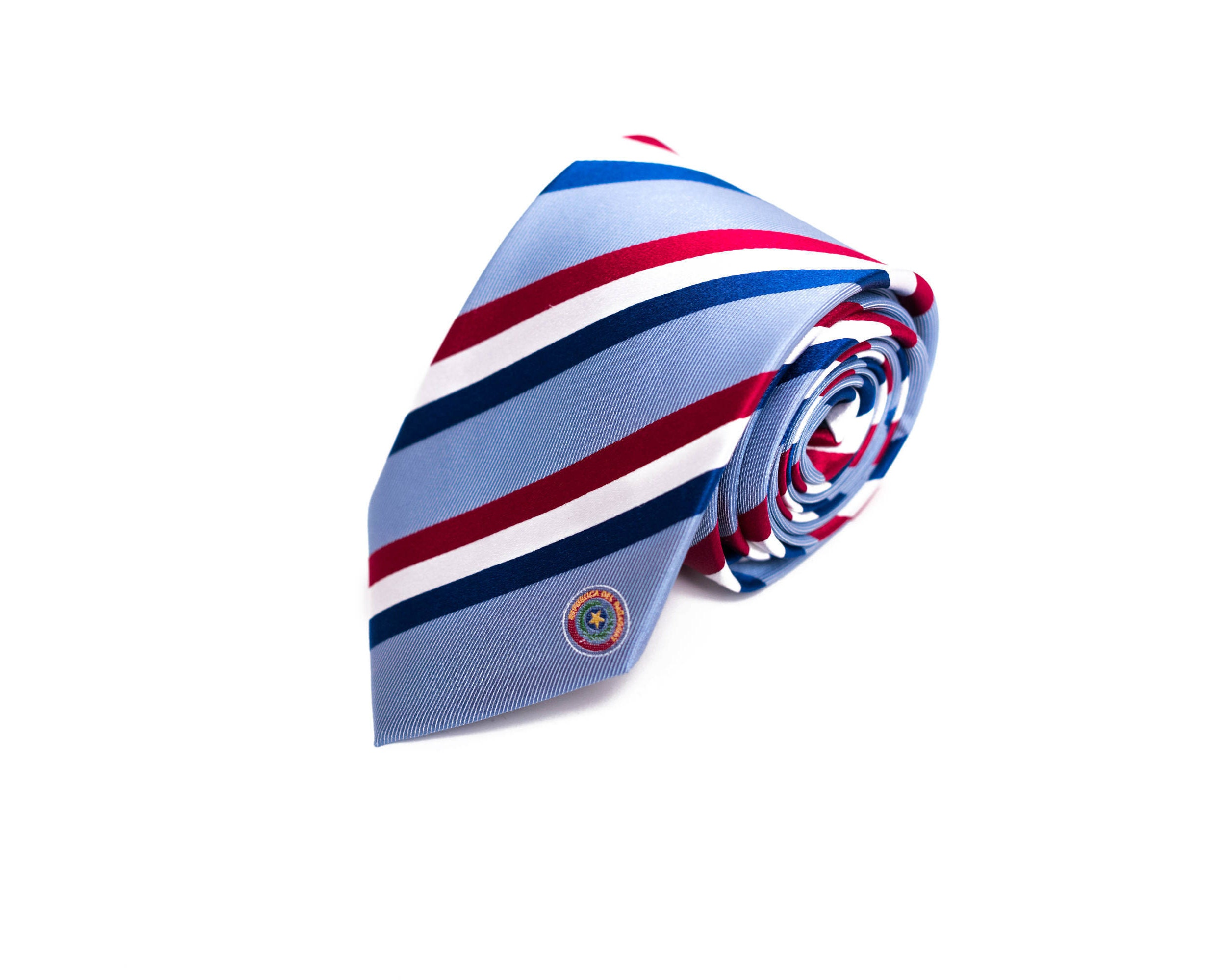 Paraguay tie inspired by the paraguayan flag with description buycottarizona