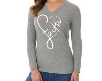 Faith religious shirt, in the shape of a heart, love, womans v neck